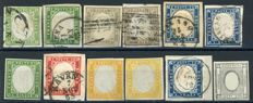 Sardinia, 1855-1863 - Lot of 12 Stamps
