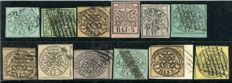Papal States, 1852 - Lot of 12 Stamps