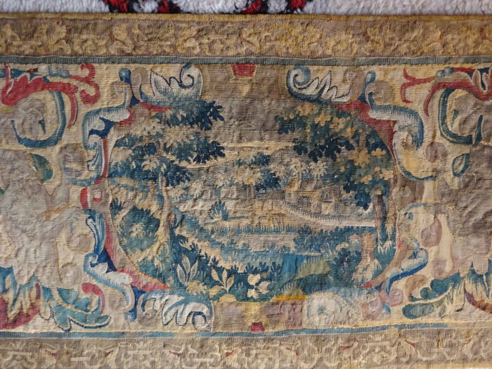 A probably Flemish tapestry border fragment, late 17th/early 18th century