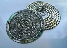 Huge 7,2 CM Sterling Silver Mexican Pendant With Heavy Silver chain - ca. 1960/1970