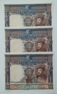 Spain - 3 x 1,000 pesetas 1925 - Three correlative banknotes - Pick 70