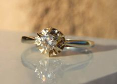 Ring in 18 kt white gold with 0.20 ct solitaire diamond - NO RESERVE PRICE!!