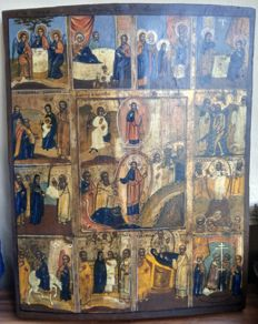 Russian icon (late 19th) - The Twelve Great Feasts (43,8 x 34 cm)