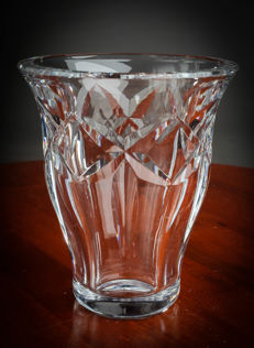 Vase in moulded Baccarat crystal, France, 20th century