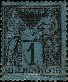 France 1880 - Sage 1 centime, Prussian blue, cancelled - Yvert No. 84