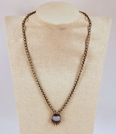 Vintage Sterling Silver Necklace With Moonstone, Circa.1950s