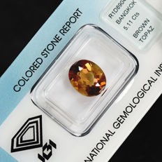 Cognac Topaz – 5.11 ct, No Reserve Price