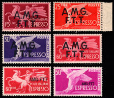 Trieste A 1947/1952 - Express AMG-FTT complete issue - Sass. Nos.  1-4 and 6-7