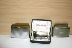 Three vintage table lighters 'Ronson' Apollo Myflam Diplomat and 1 unknown and one unknown (old)