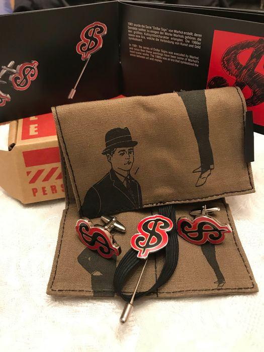 "Andy Warhol "" Dollar"" Cufflinks & Tie pin set"