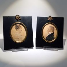 Two Georgian Cope & Cutler - portrait of John Harrison with his wife - miniatures - England - 1819