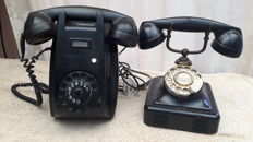 Two bakelite phones - PTT wall phone the Netherlands and Danish wall table model 1950s-1960s