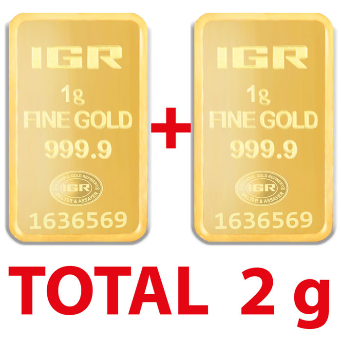 1+1 g, 2 pieces of 1g sealed 24 Ct Fine Gold Bars,