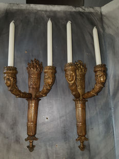 A set of Empire style bronze torch candlesticks (6 kg) - France - 1st half 20th century