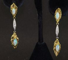 "Vintage gold earrings with opal and diamonds ""No reserve"""