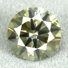Diamond – 1.12 ct, Si1 – NO RESERVE PRICE – Natural Yellowish Green