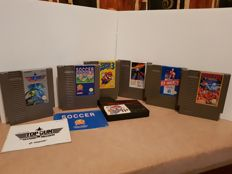 Lot of 6 Nintendo Nes Games - Top Gun, Soccer, Super Mario bros 3, Roadblasters, Ice Hockey and Super Spike VBall