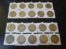 Belgium - 5 franc, 1867 to 1876, Leopold II (two complete sets) - twenty coins - silver