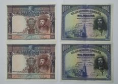 Spain - 4 x 1,000 pesetas from 1925 and 1928 - Correlative pairs - No series - Pick 70 and 78