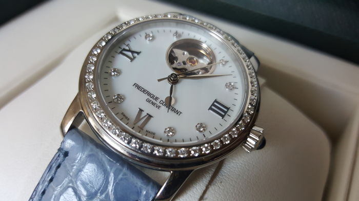 Frederique Constant Ladies Automatic women's watch with 0.82 ct diamonds (Wesselton/VS), leather strap, handmade