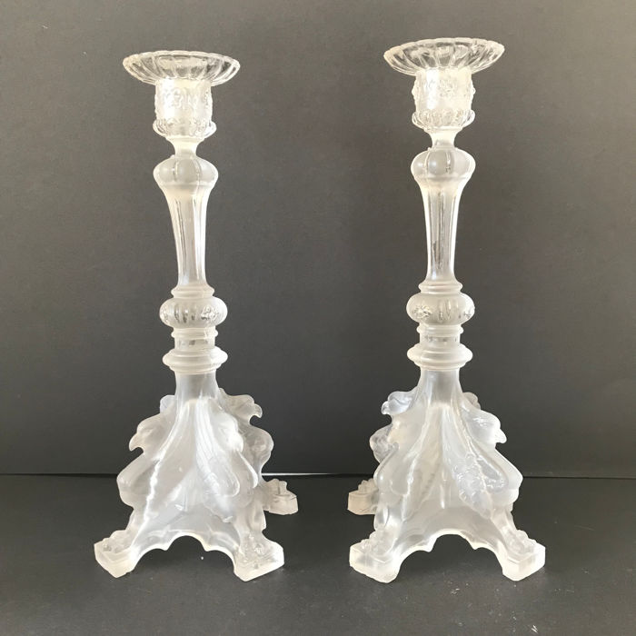 Val Saint Lambert - Luxval 'Griffon' candlesticks - pressed satin glass