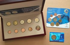 Greece - Year pack 2014 (1 cent through 2 Euro + 2 x 2 Euro) in box + Year pack 2011 + 2 Euro coin card 2004