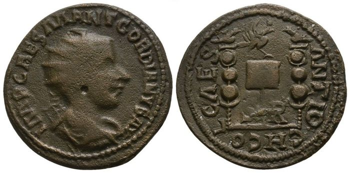 Roman Empire - GORDIAN III (238-244 AD) Æ 26 of Antiochia, Psidia (Eagle & two aquiliae) - 26mm; 12.06g / Very Rare