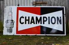 50 - 60's groot emaille Champion bord