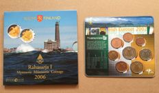 Ireland and Finland - year collections Euro coins 2002 'KNM' + 2006 'Rahasarja I'