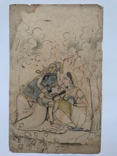 Set of two Pahari miniature painting drawings - India - 19th/20th century