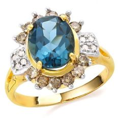 14k  Yellow  Gold Ring With 5.1 Grams -  London  Blue  Topaz and 0.57 ct Diamonds - US Size 7.5