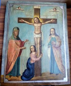 Russian icon (late 19th) - The Crucifixion (43,8 x 34,6 cm)
