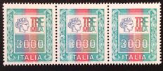 "Italy, Republic, 1976 – ""High Values"" 3000 Lire Variety Central Stamp with Evanescent Print on the Number 3"
