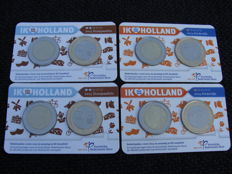 "The Netherlands - Holland coin card 2014 ""Kinderdijk"" + 2015 ""Stroopwafels"" (4 pieces)"