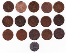 The Netherlands - 2½ cent coins 1880 to 1941, Willem III/Wilhelmina, 16 different coins