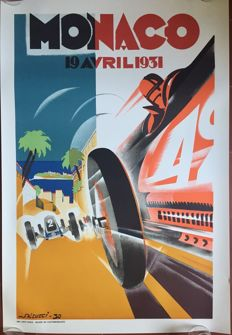 Grand Prix Automobile of Monaco 1931  - Poster 68 x 100 cm - printed in 1983