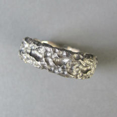 Artisan handmade Lapponia style rough wedding band ring in 925 Sterling Silver, no reserve
