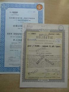 the Netherlands: 2 different bond from Zutphen.  1x thousand guilders 1938 and 1x 500 guilders from 1893 with coupons. Rare