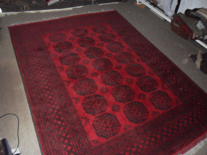 Hand knotted Afghan ERSARI 2.76 x 2.06 m. New, never used. Imported from Afghanistan in 1995.