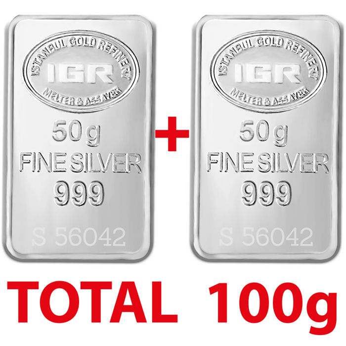 2x50g  999 Fine  2 Silver  Bullion Bars , *** NO RESERVE PRICES***