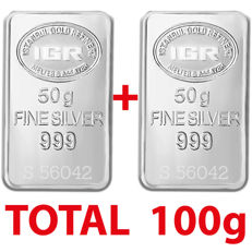 2x50g  999 Fine  2 Silver  Bullion Bars , *** No reserve ***