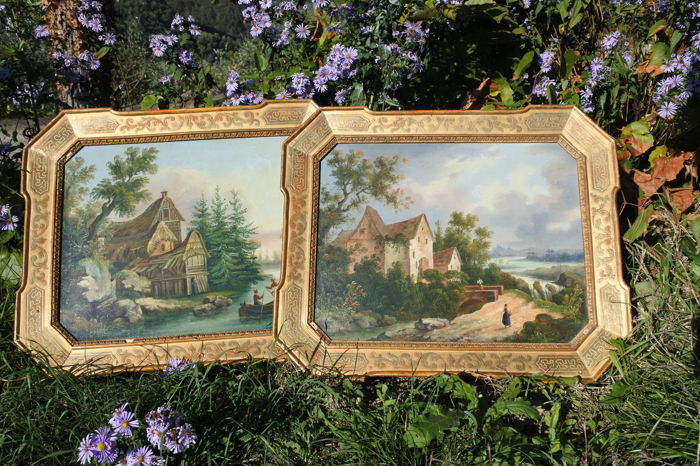 """Pair of """"cabaret"""" frames in wood covered with gold leaf, including two oil on canvas paintings - Italy - mid 19th century"""