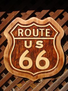 Route 66 Large unique handmade sculpting logo made from wood - 48 x 50,5 cm cm