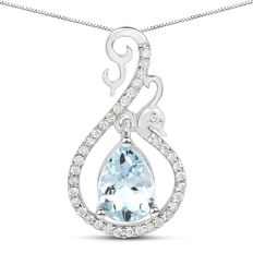 Gold necklace with 0.75 ct aquamarine pendant and 0.17 ct diamonds - no reserve price --