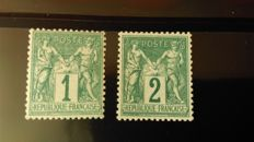 France 1876 - Sage type I and II - Yvert 61 and 74