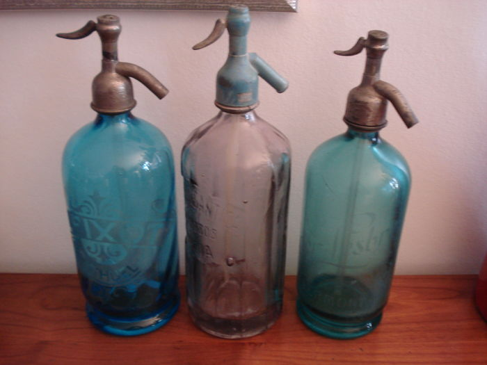 Lot of 3 glass siphons for soda water