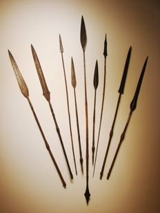 Collection of 9 Spears NGOMBE NGBANDI - D.R. Congo