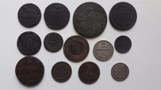 Russia - Lot of 12 silver and copper coins, F/XF