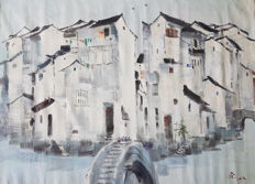 Oil painting油画《吴冠中-周庄》 - China - late 20th century