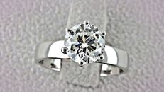 1.51 ct  D/SI1 round diamond ring 18 kt gold - size 7